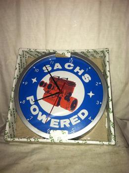 "SACHS ENGINE LOGO 9"" CLOCK SNOWMOBILE VINTAGE SKIROULE SCORPION MOTO-SKI ARCTIC CAT POLARIS"