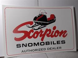 scorpion dealer poster sign  sachs jlo rockwell  snowmobile vintage