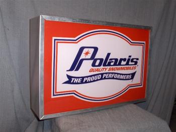 snowmobile vintage polaris proud lighted sign
