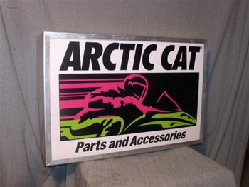 snowmobile vintage arctic cat parts & acc lighted sign