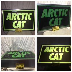 Vintage arctic cat dealer sign ARCTIC CAT  kawaski spirit Suzuki engine snowmobiles ext king cat puma 760 Jlo panther trail cat 793 Hirth hirth 650 Red Baron hirth 194r 292 Jlo 230r montana pipes