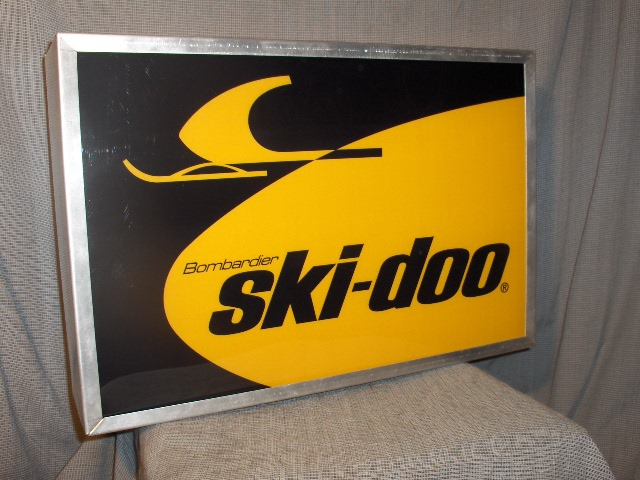 1968 ski doo dealer lighted sign logo vintage