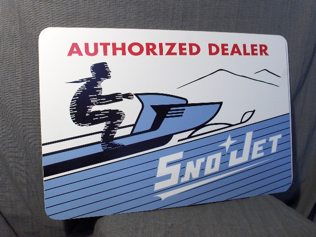 VINTAGE SNO-JET AUTHORIZED DEALER METAL SIGN VINTAGE SNOWMOBILE ...
