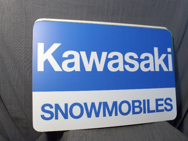 VINTAGE KAWASAKI DEALER METAL SIGN VINTAGE SNOWMOBILE