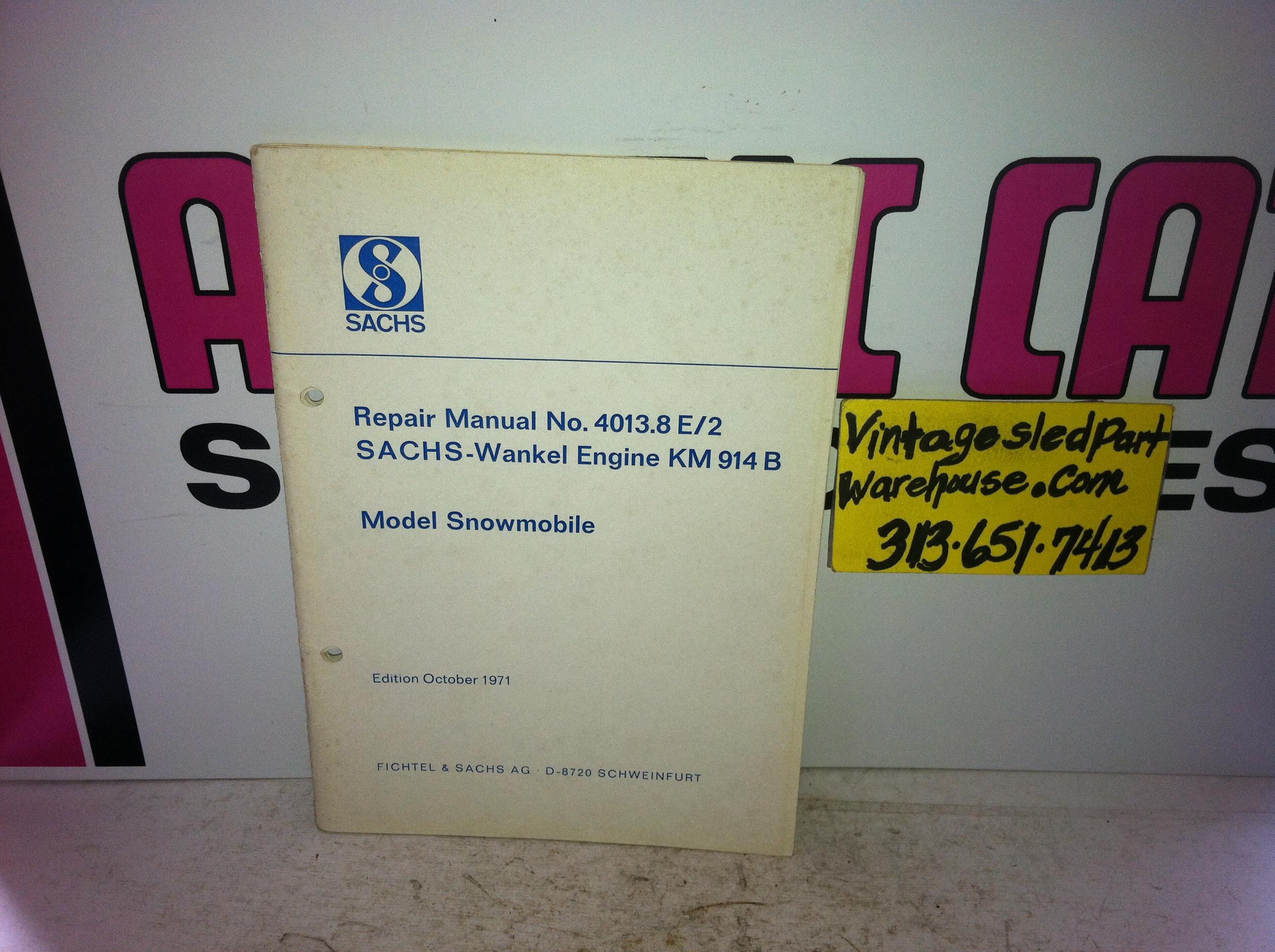SACHS WANKEL KM 914B ENGINE PARTS BOOK VINTAGE SNOWMOBILE SACHS