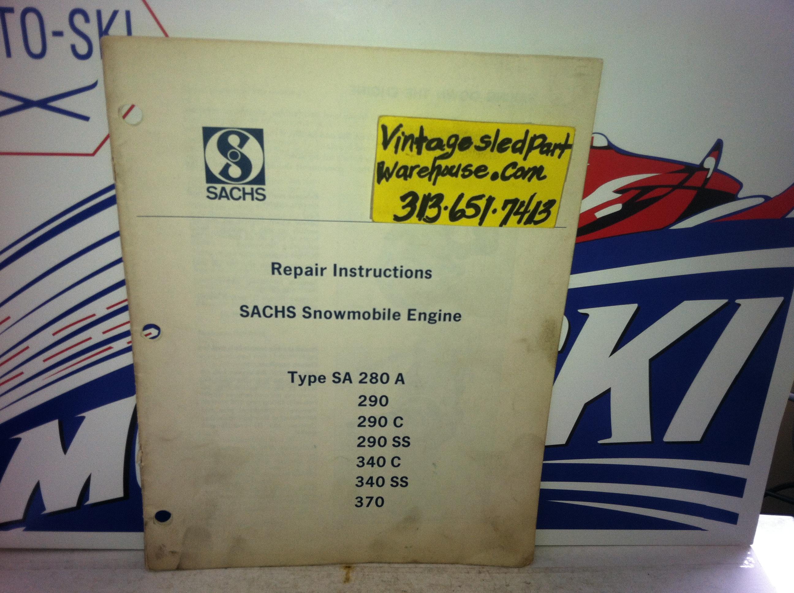Sachs Sa 290 C Engine Repair Book Vintage Snowmobile 380 A Diagram Sa280a 290c 290ss 340c 340 Ss 370 Manual Sled