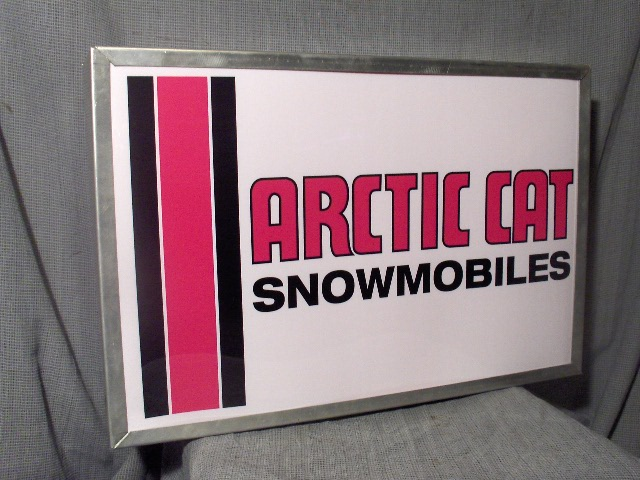 arctic cat dealer  three stripes logo lighted sign   snowmobile vintage